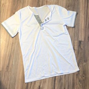 Plain White Tee with huge clasps